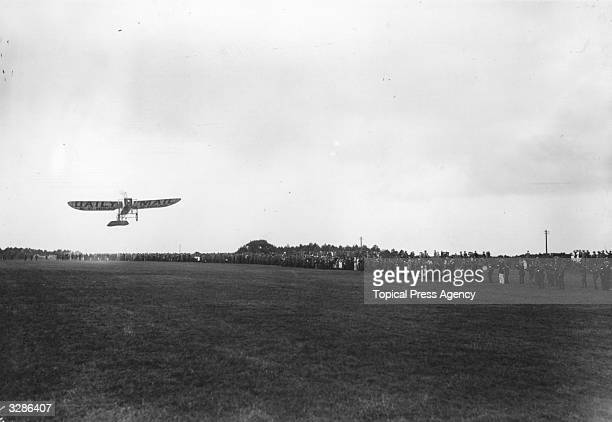 Louis Bleriot piloting his plane on the return journey from Lowestoft