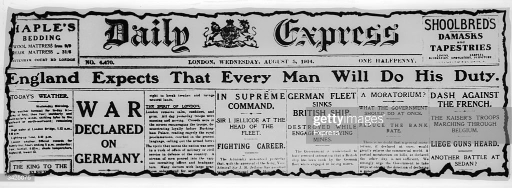 The frontpage of the Daily Express from 5th August 1914 on the day war was declared against Germany.