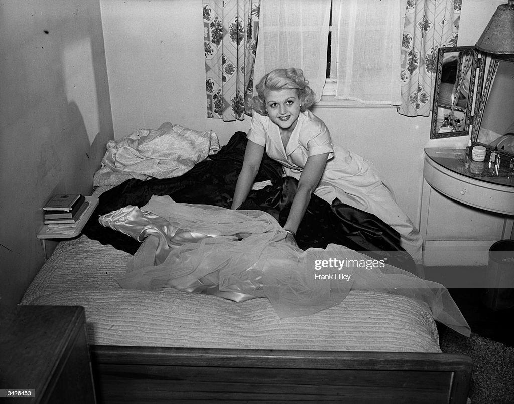 English actress Angela Lansbury with her trousseau.