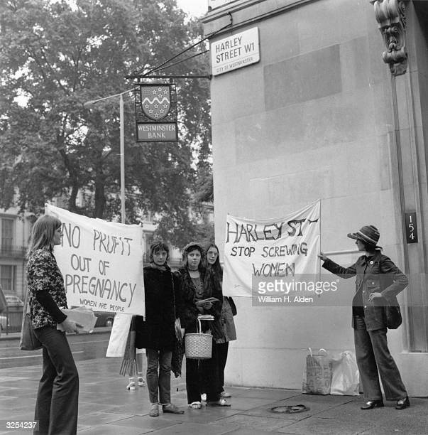 Members of the Women's Liberation Movement protesting about abortions in Harley Street London
