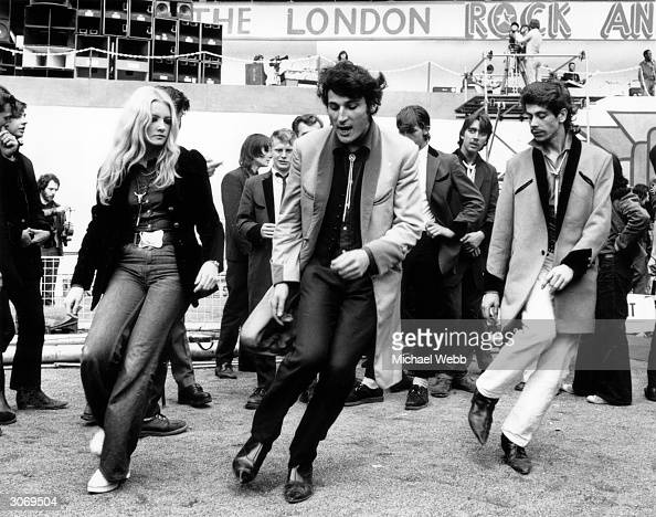 A group of teddy boys dancing at the London rock 'n' roll revival show in Wembley Arena