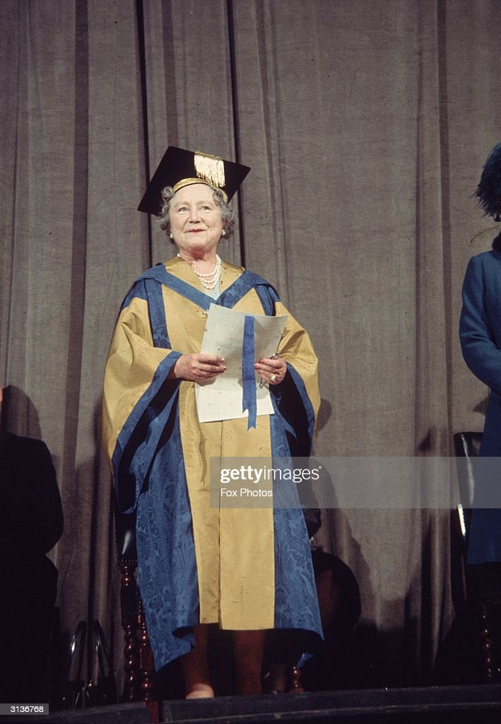 Queen Elizabeth the Queen Mother (1900 - 2002) receiving an honourary degree at the Royal College of Music.