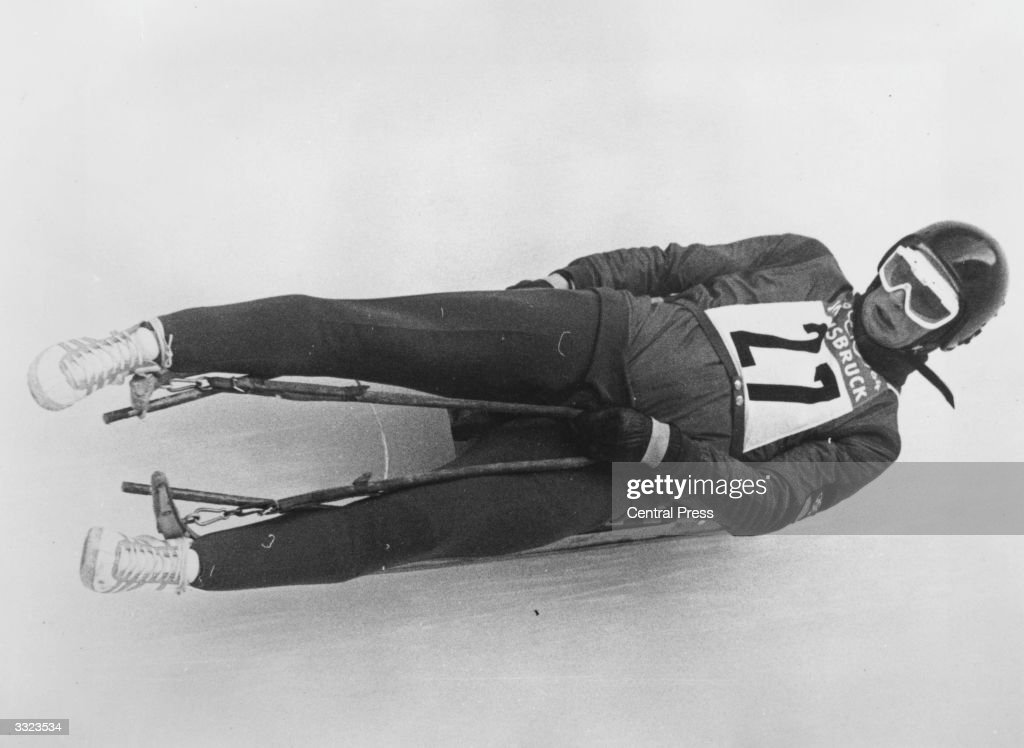 Thomas Koehler on his way to winning the men's toboggan event for Germany at the Winter Olympics in Innsbruck.