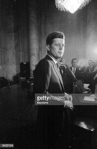 American politician John Fitzgerald Kennedy during nominations for the Democratic presidential candidacy
