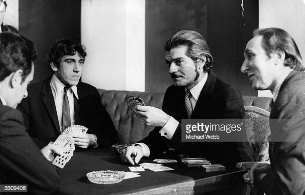 Omar Sharif plays bridge with some of the world's most prominent Bridge players during a Press Conference to introduce a new series of televised...