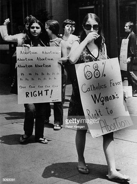 Prochoice campaigners at a demonstration in favour of abortion in front of the American Hotel in midtown New York where the American Medical...