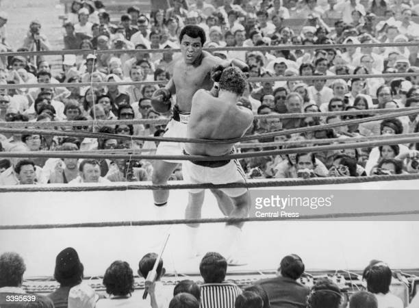 Muhammad Ali formerly known as Cassius Marcellus Clay about to punch Hungarianborn British boxer Joe Bugner in their title fight at the Merdeka...