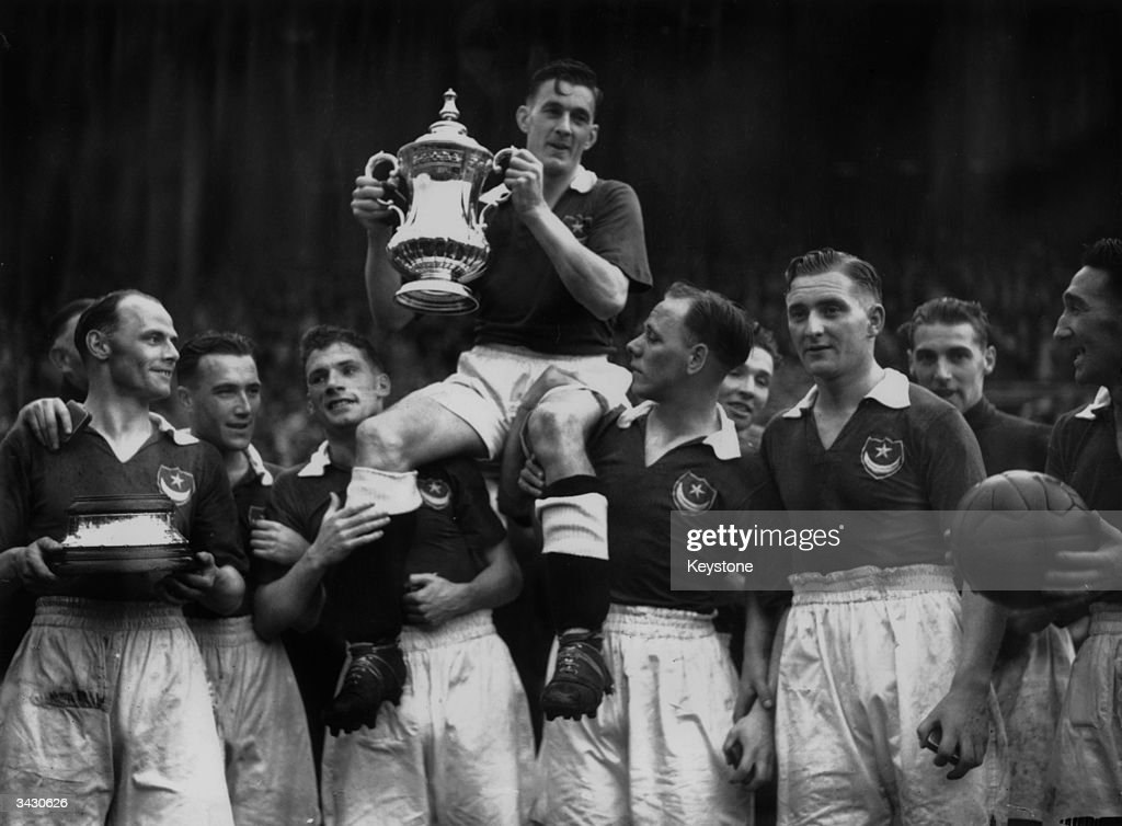 Jimmy Guthrie the Portsmouth captain being carried by his team mates after winning the FA Cup final