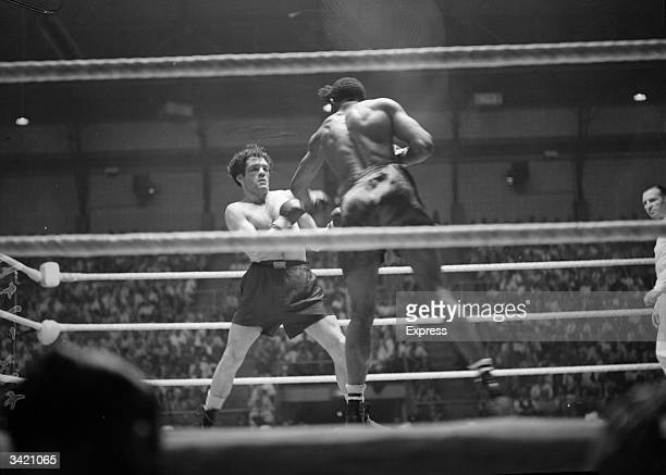 English boxer Freddie Mills during a fight at Haringey in London