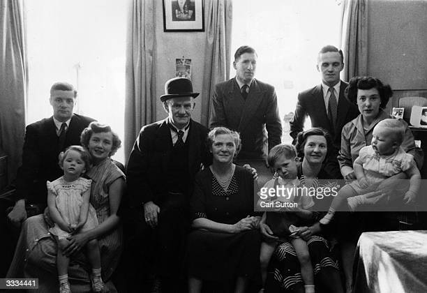 Mr and Mrs Smith of Lambeth Walk London with their children and grandchildren Original Publication Picture Post 7174 Meet The Smiths pub1954