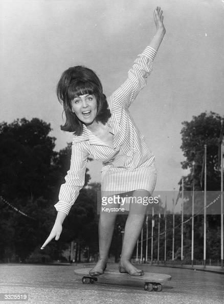 Actress Pauline Collins skateboarding in Battersea Park London