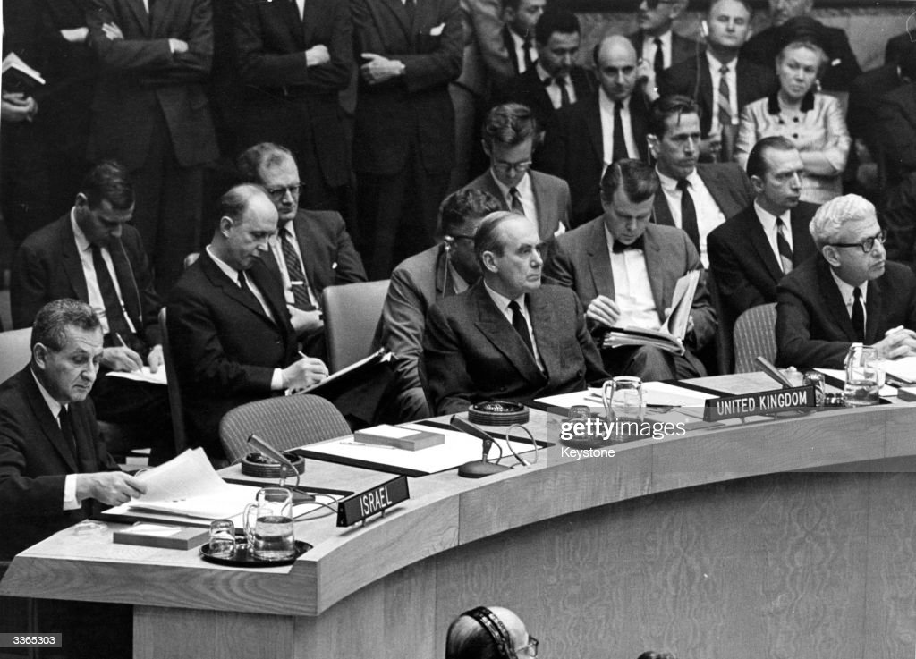 Delegates at an emergency meeting of the United Nations Security Council in New York to discuss the outbreak of hostilities in the Middle East The...