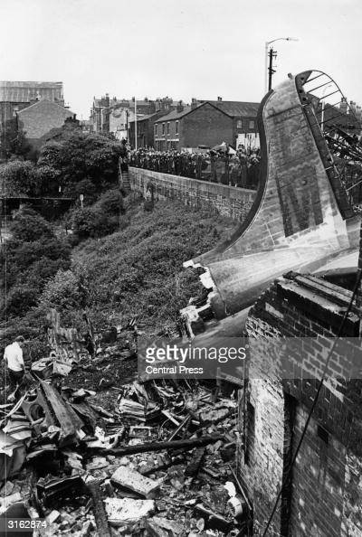 The wreckage of a British Midlands airliner which crashed into an electricity sub station in Stockport Cheshire during a flight from Palma 72 people...