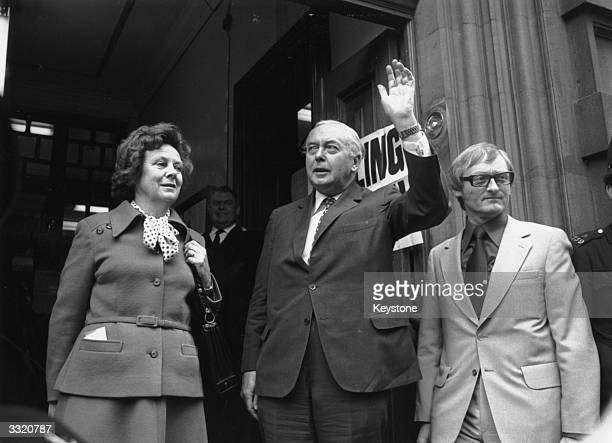 British Prime Minister Harold Wilson accompanied by his wife Mary to the Polling station in Great Smith Street where they cast their vote for the...