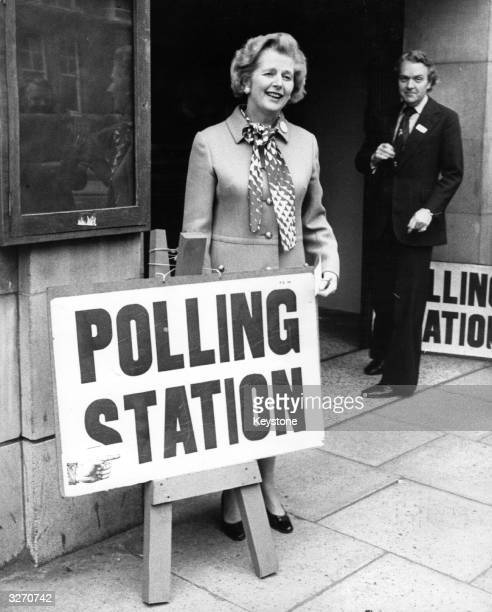 English politician Margaret Thatcher leader of the Opposition outside a polling station in Chelsea London to cast her vote in the Common Market...