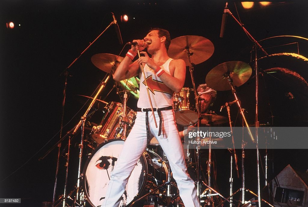Freddie Mercury lead singer of 70s hard rock quartet Queen in concert in Milton Keynes