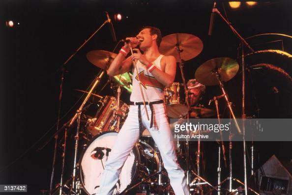 Freddie Mercury lead singer of 70s hard rock quartet Queen in concert in Milton Keynes