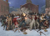 The Boston Massacre in which a mob of angry colonists surrounded a group of British soldiers in front of the State House Massachusetts The soldiers...