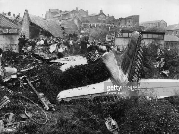 The disaster scene in Stockport where a passenger plane crashed into a town killing 72 of the 83 people on board