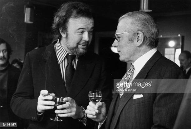 Actor producer and director Sir Laurence Olivier and theatre opera and film director Sir Peter Hall in conversation at the National Theatre London