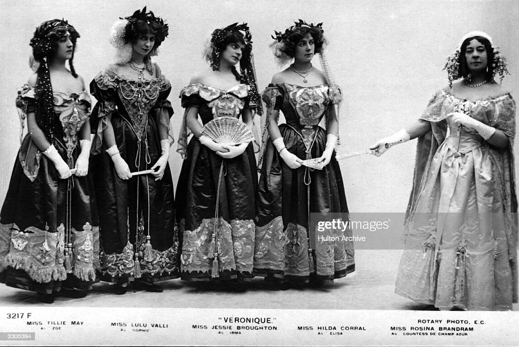 Tillie May, Lulu Walli, Jessie Broughton, Hilda Corral and Rosina Brandram in costume for their roles in comic opera, 'Veronique'.