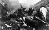 The scene after the aircrash on the mountain of Superga near the outskirts of Turin which killed several members of Torino football club