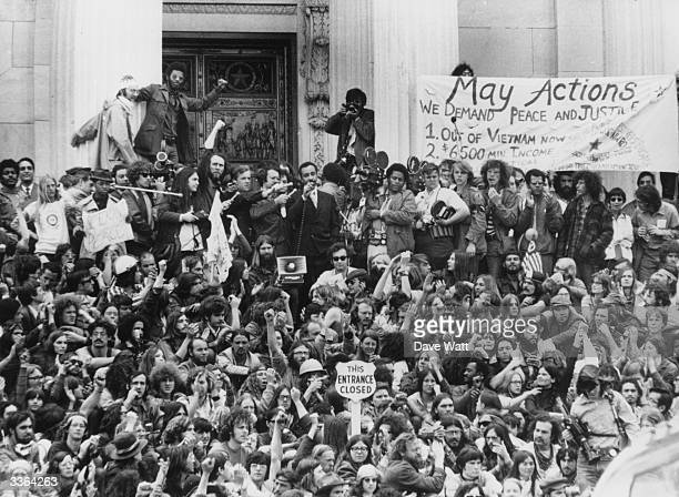 Democratic Party representative Ron Dellums addresses an anti Vietnam war demonstration on the steps of the US Capitol building in Washington DC