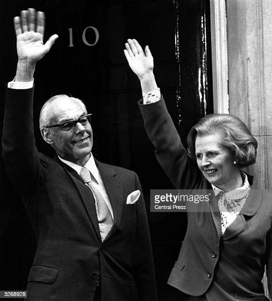 British Conservative Prime Minister Margaret Thatcher celebrates the 1979 general election victory with husband Denis outside 10 Downing Street