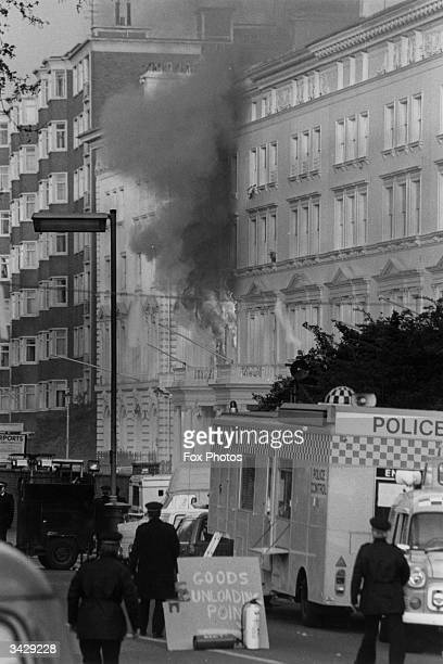 The Iranian embassy in London on fire during the rescue by the SAS of hostages from the embassy