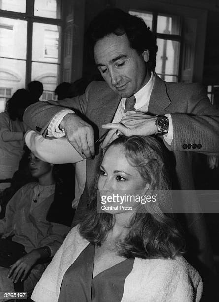 Louise Moss Miss USA has her hair styled by Leonard at his salon in Mayfair London