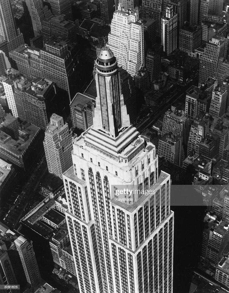 The mast of the Empire State Building on Fifth Avenue, New York, built in 1931, and at the time the tallest building in the world.