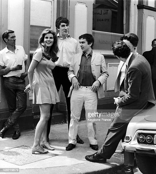 5Th Of June 1967 London Raquel Welch Peter Cook And Dudley Moore Filming For The Bedazzled