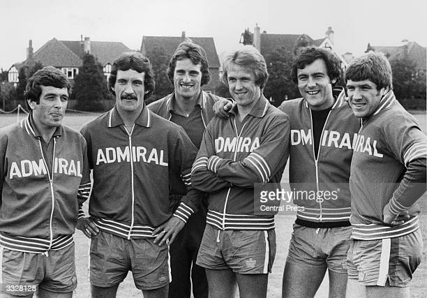 English team players in training for a match against Switzerland L to R Ian Callaghan Terry McDermott Ray Clemence Phil Neal Ray Kennedy and Emlyn...