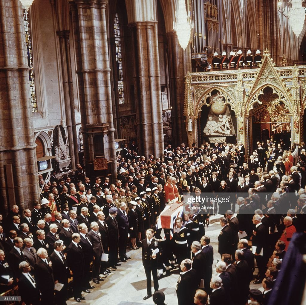 The funeral procession of Lord Louis Mountbatten through Westminster Abbey in London. Mountbatten, the last British Viceroy of India, was killed when an IRA bomb exploded in his fishing boat in Donegal Bay.