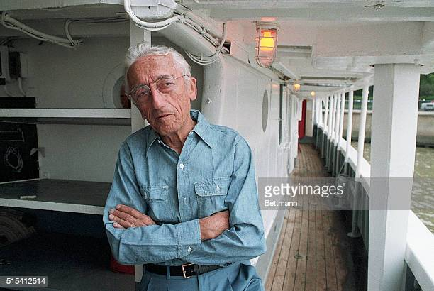 6/09/1985Mt Vernon VA Captain Jacques Cousteau aboard his ship 'The Calypso' for his 75th birthday celebration He is shown waistup with his head...