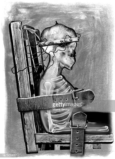 60p x 84p Earl F Lam III black and white illustration of skeleton strapped to electric chair