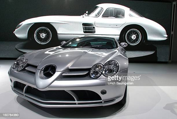 60th international motor show passenger cars presentation of the new Mercedes Benz SLR McLaren in the background the animation of an old Silberpfeil...