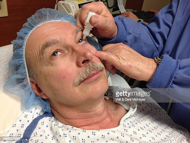 60yearold man gets prepped for cataract surgery