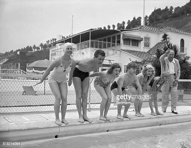 6/11/1939Santa Monica CA Marjorie Gestring Jackie Cooper Judy Garland Mickey Rooney June Preisser Virginia Weidler and Louis B Mayer prepare to start...