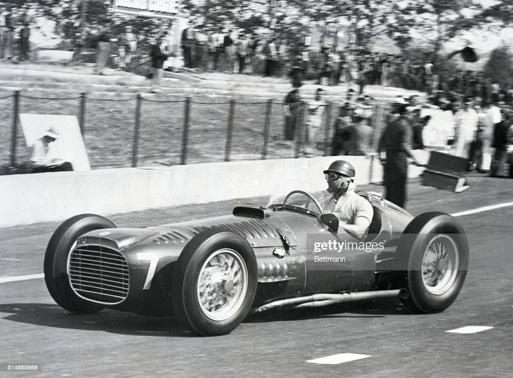 6/1/1953Albi S France Juan Manuel Fangio warms up in his 'BRM' before the Grand Prix D'Albi race being held May 31 in Albi southern France Fangio a...