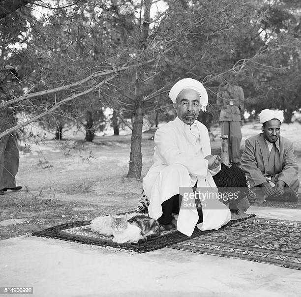 6/15/1948Amman TransJordan Sharing his Persian rug with a sleepy cat King Abdullah of TransJordan holds an outdoor conference in the courtyard of...