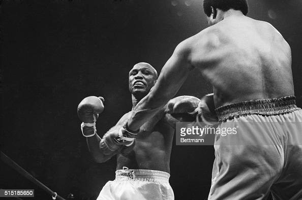 6/15/1976Uniondale NY Joe Frazier suffers at the hands of George Foreman in the first round of a bout between the two former heavyweight champions at...