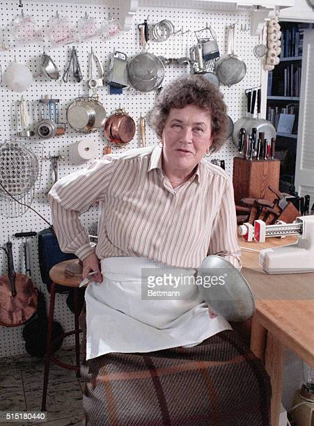 6/15/1986Santa Barbara CA Julia Child poses 3/16 in her Santa Barbara kitchen Her kitchen is small and square with a single window over the sink