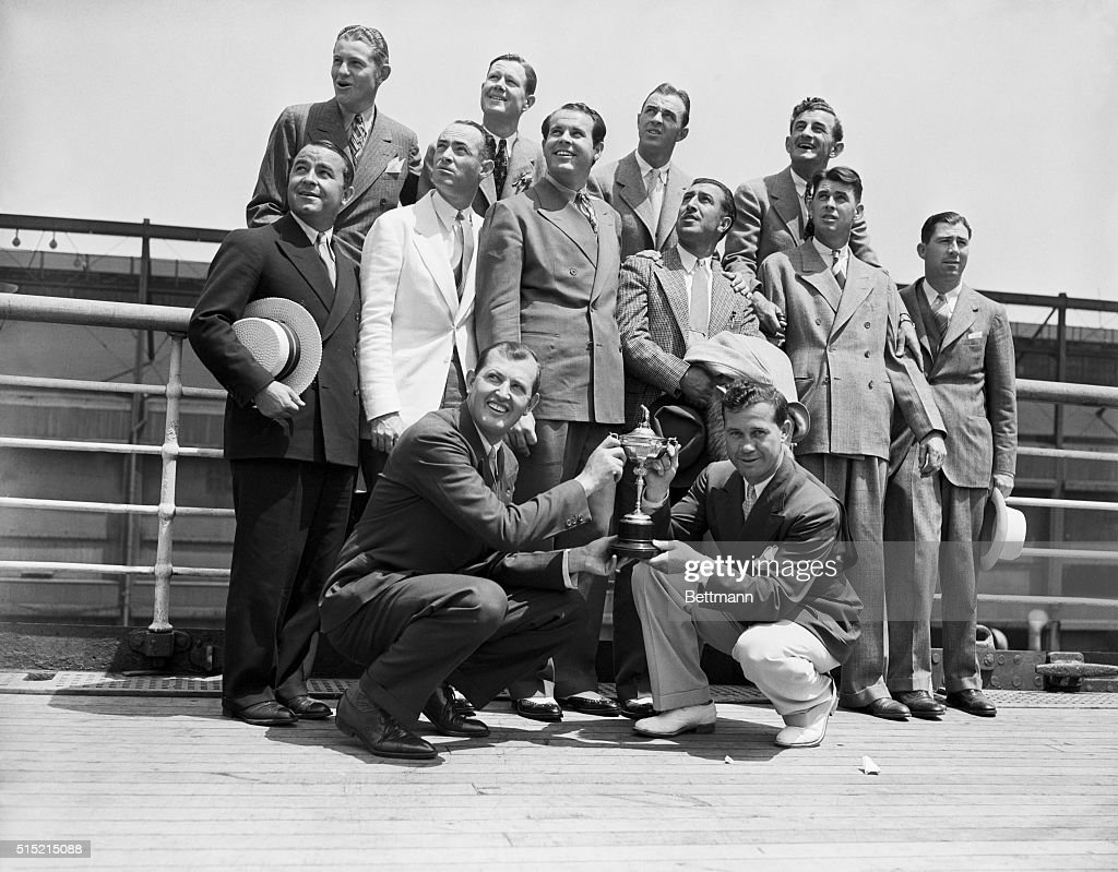 New York, NY-Pictured as they sailed aboard the S.S.Manhattan are the members of the U.S.Ryder Cup team who will do battle in England for the coveted golf trophy.L to r rear:Horton Smith,<a gi-track='captionPersonalityLinkClicked' href=/galleries/search?phrase=Byron+Nelson&family=editorial&specificpeople=208698 ng-click='$event.stopPropagation()'>Byron Nelson</a>,Johnny Revolta;(middle row) <a gi-track='captionPersonalityLinkClicked' href=/galleries/search?phrase=Gene+Sarazen&family=editorial&specificpeople=890883 ng-click='$event.stopPropagation()'>Gene Sarazen</a>,Danny Shute,<a gi-track='captionPersonalityLinkClicked' href=/galleries/search?phrase=Ralph+Guldahl&family=editorial&specificpeople=4829216 ng-click='$event.stopPropagation()'>Ralph Guldahl</a>,National Open Champ,Tony Manero,<a gi-track='captionPersonalityLinkClicked' href=/galleries/search?phrase=Henry+Picard&family=editorial&specificpeople=1785610 ng-click='$event.stopPropagation()'>Henry Picard</a> and Fred Corcoran,tournament manager,PGA.Front row:Ed Dudley,Acting Captain,and George Jacobus,President of the PGA.They are holding the Ryder Cup that they'll defend in England.