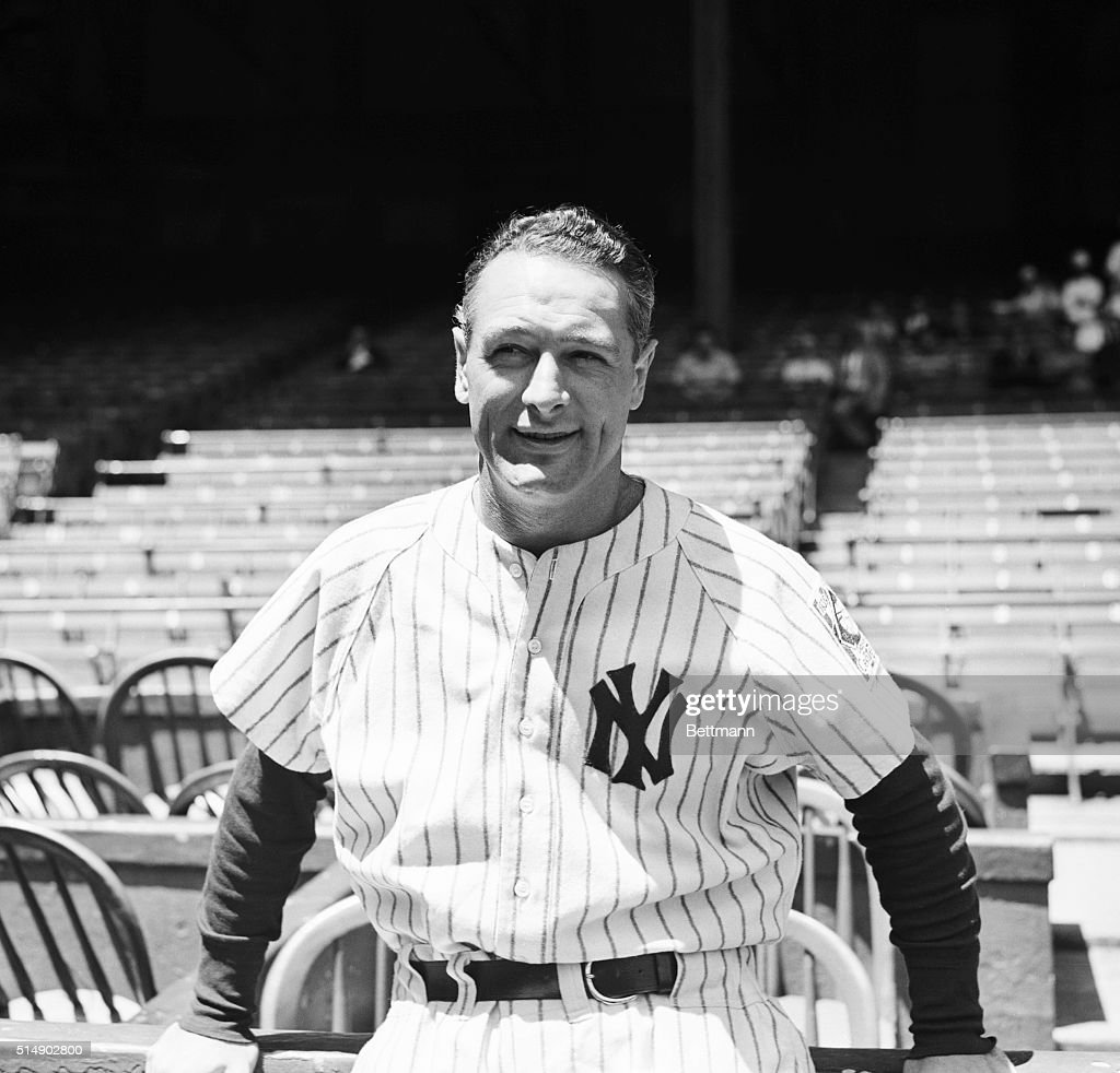 Only empty seats and the X diamond where his power was feared by a countless parade of pitchers are in this photograph with Lou Gehrig, 'Iron Horse' first baseman of the New York Yankees, who is shown visiting the Yankee Stadium after the findings of the Mayo Clinic physicians who examined him rcently were made public. The 'Iron Horse' will play no more, for the medics have ruled that he suffers from a mild form of infantile paralysis and must conserve his muscular energy.
