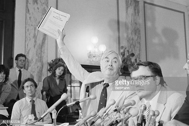 6/21/83Washington DC Sen Patrick Moynihan DNY holds a copy of a government report of the habitability of Love Canal here 6/21 saying that there is...