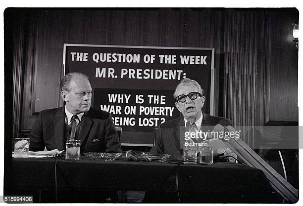 6/2/1966Washington DC GOP congressional leaders Representative Gerald Ford and Senator Everett M Dirksen at a newsconference charged that President...