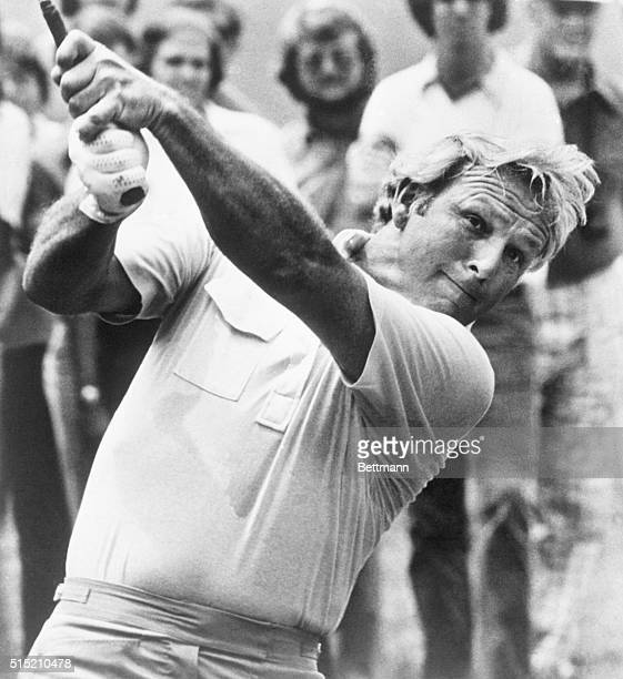 6/2/1978Charlotte NC A determined Arnold Palmer smashes his second shot toward the parfive ninth green during the second round of the Kemper Open...