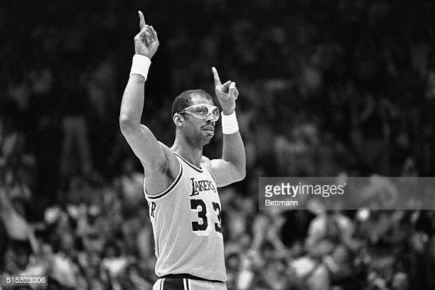 6/2/1985Inglewood CA Lakers' Kareem AbdulJabbar acknowledges the cheering crowd during the NBA Championship game against the Celtics when it was...