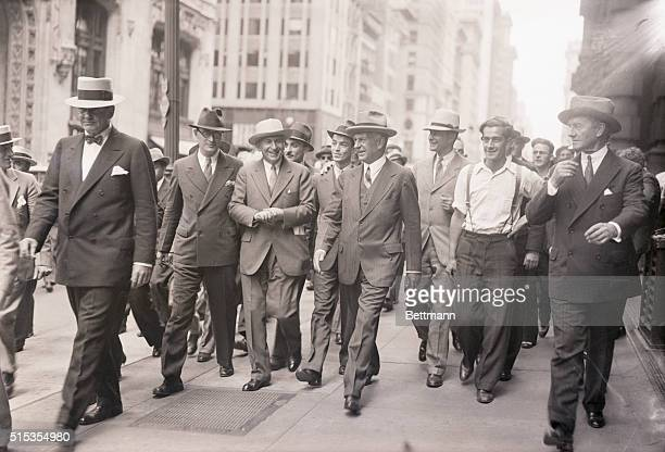 6/22/1933New York NY Like a returning hero Charles E Mitchell former president of the National City Bank strolls up Broadway surrounded by friends...